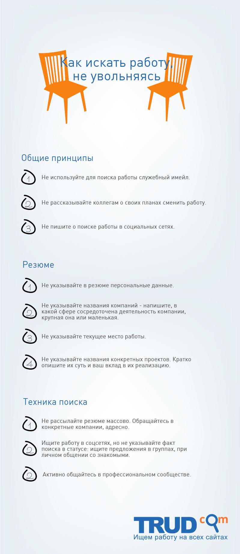 """Инфографика на тему """"Как искать работу, не увольняясь"""""""