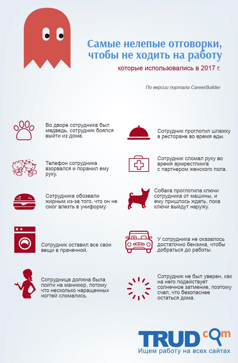 """Инфографика на тему """"Самые странные отговорки, чтобы прогулять работу"""""""