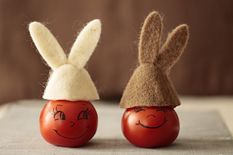 Рожицы, сделанные из помидоров