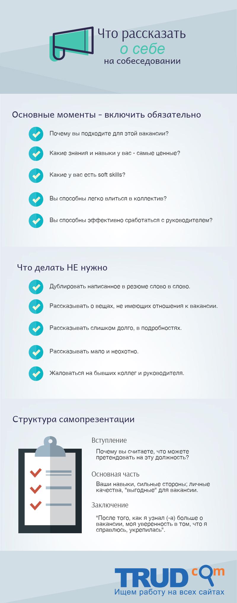 """Инфографика на тему """"Что рассказать о себе на собеседовании"""""""