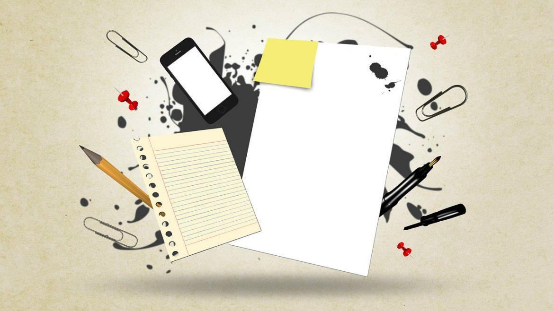 Колаж: листи паперу, смартфон, олівці, лист з блокноту.